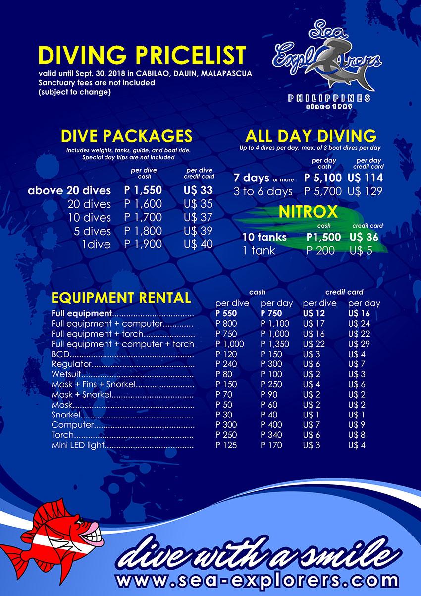 Diving Pricelist 2015